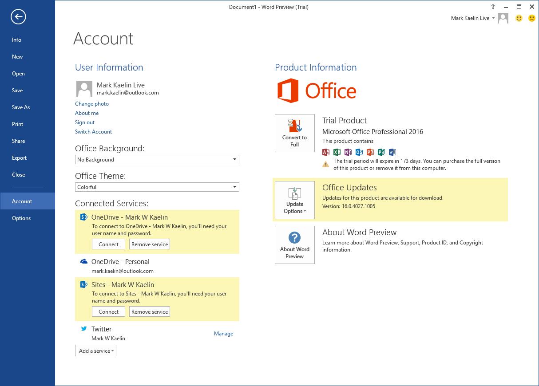 Microsoft Office 2017 Screenshot